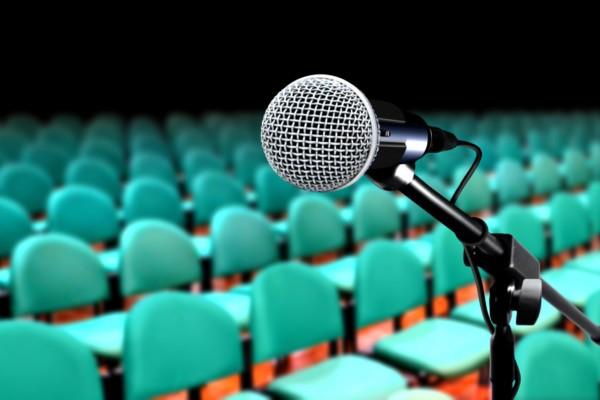 Microphone in auditorium during seminar presentation